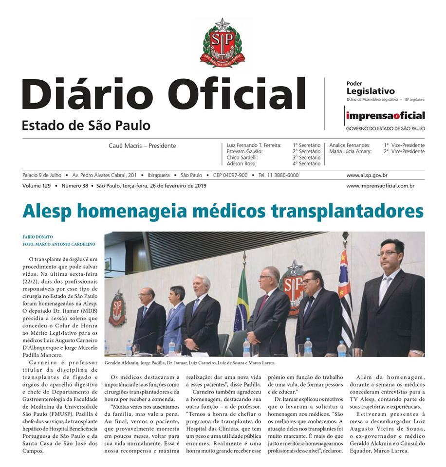 Homenageados pela Assembleia Legislativa do Estado de São Paulo (ALESP)