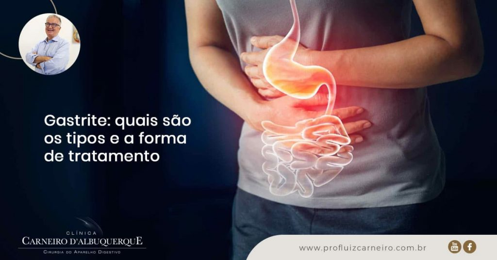 Ao fundo da imagem, há uma pessoa com a mão na barriga e um desenho representando o estômago.