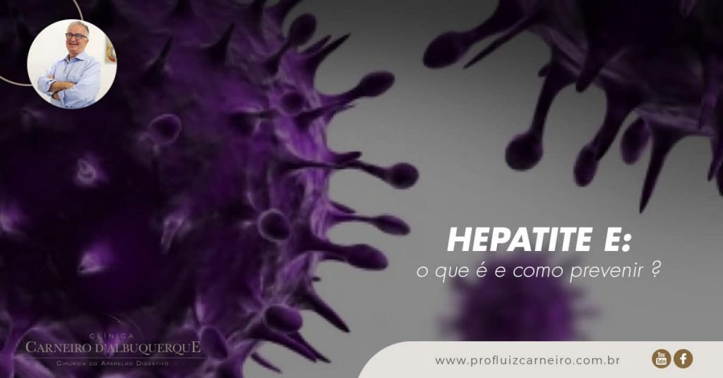 Ao fundo da imagem, há dois vírus da hepatite E.