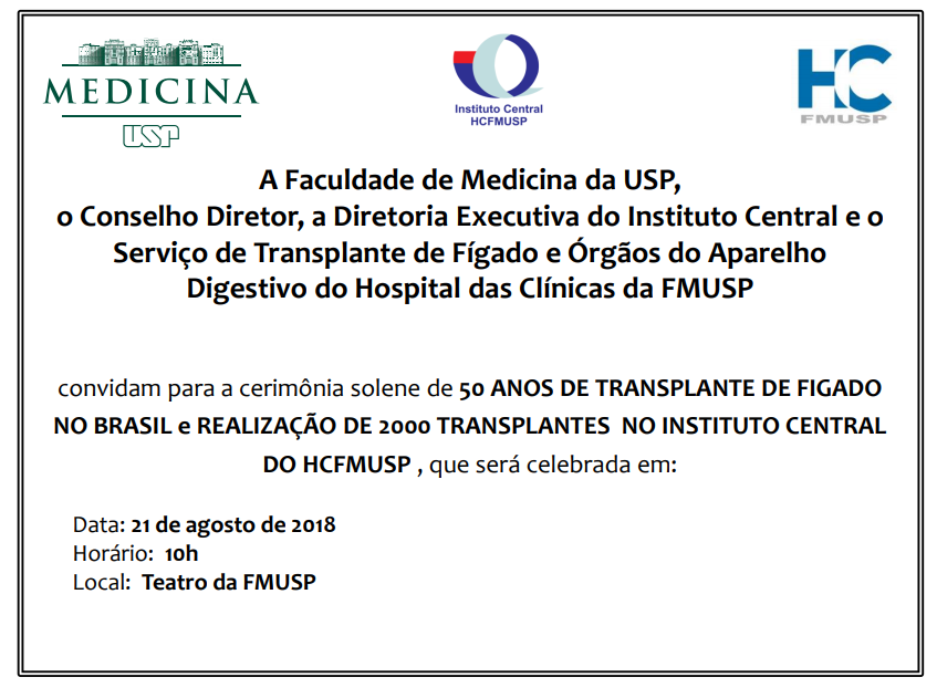 Hospital das Clínicas de SP comemora 50 anos de transplantes de fígado no Brasil