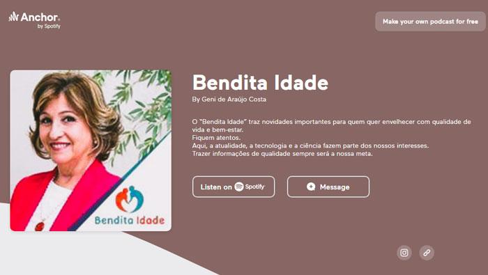 A imagem mostra a página de reprodução do podcast Bendita Idade.